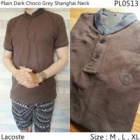 Jual Kaos Polo Pria Fashion Distro Plain Dark Choco Grey Shanghai Neck- 513 Murah