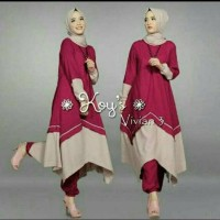 Setelan Muslim Wanita/Hijab Celana Tunik Pashmina 3 in 1 Simple Maroon