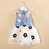 Jual DRESS ANAK PEREMPUAN IMPORT DENIM MIX TUTU MOTIF BUNGA Murah