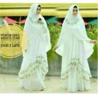 Baju butik Premium Gamis Andhita syari White busana muslim agrabutik