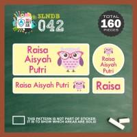 SLNDB-042 stiker label nama anak kartun cute owl burung hantu girl