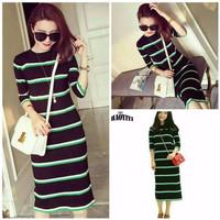 Dress Perempuan Motif Strip Knit/ Model Simpel/ New Arrival