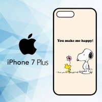 Casing Hardcase HP iPhone 7 Plus Snoopy You MAke me Happy X5682