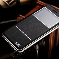 Leather Flip Cover KXX Alumunium Bumper iPhone 5 / 5s / SE case