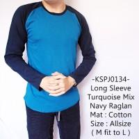Kaos Lengan Panjang Model Long Sleeve Turquoise Mix Navy Raglan - 134