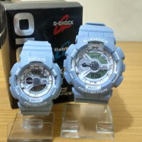 Best Seller Jam Tangan Couple / Pasangan Romantis GA-110 Tosca Denim
