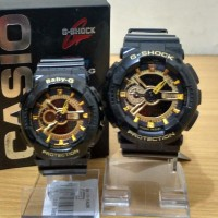 Best Seller Jam Tangan Couple / Pasangan Romantis GA-110 Black Gold