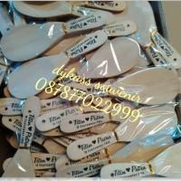 souvenir pernikahan sendok / centong kayu nasi + sablon + plastik