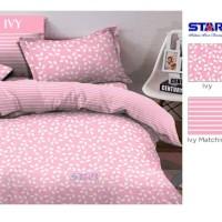 Kain Sprei Meteran Bunga Kecil Warna Pastel Ivy Pink & Matching Garis