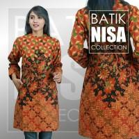 Harga baju batik blouse tunik atasan wanita orange flower katun cap | Pembandingharga.com