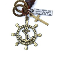 Jual Kalung Tali Kulit Vintage Pendant Kemudi Kapal Murah