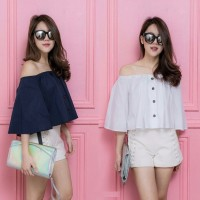 [sabrina button RO] blouse wanita twiscont putih dan navy