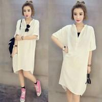 [Amora white RO] dress wanita katun rayon putih