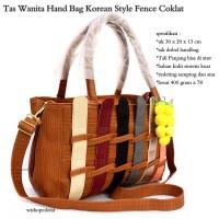 tas wanita kulit anyam braid bag coklat