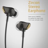 Rock Nano Zircon Luxury Earphone Headset In Ear With Microphone