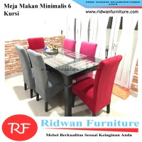 Meja Makan Kayu Minimalis, Model Kerang, 6 Kursi Model Bungkus