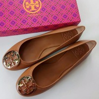 Tory Burch Reva Ballet Tumbled Leather Royal Tan/Gold