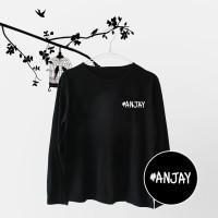 Tumblr Tee / T-Shirt / Kaos Wanita Lengan Panjang Anjay Warna Hitam