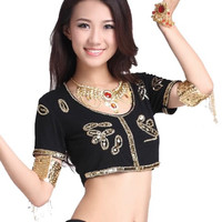 belly dance baju payet atasan top aksesoris tari kostum senam zumba