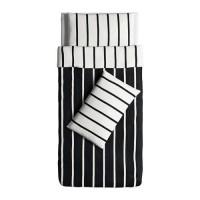 Ikea TUVBRACKA Sarung quilt dan 2 sarung bantal hitam putih uk 150x200