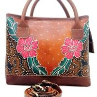 Jual Tas jinjing Wanita Kulit Sapi Asli lukis batik etnik leather kerja Murah