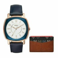 FOSSIL ES4248SET Idealist 3-Hand Blue Leather Watch And Card Case Box