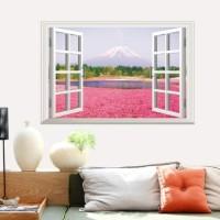 Walpaper Dinding Jendela Bunga Pink AY9234A - Stiker Dinding / Wall