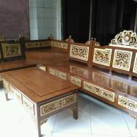 Kursi Sudut Mahkota Jati(kursi tamu,lemari,meja makan,kursi makan,rak)