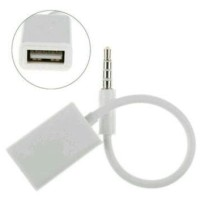 AUX Audio Plug Jack 3 5mm Male To USB 2 0 Female Adapter White