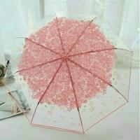 Jual payung lipat transparan sakura Murah