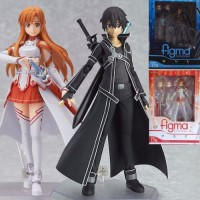 2pcs Sword Art Online SAO Asuna Kirito Action Figure Figma PVC Figurin