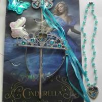 Aksesoris Princess Cinderella (mahkota,tongkat,kalung,hiasan Rambut)
