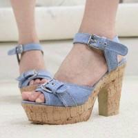 Sepatu Casual High Heels Lea Blue | Wedges Strap Jeans | Denim Shoes