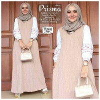Long Dress Maxi Wanita Muslim cream Prisma fit jumbo XXL