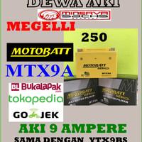 Aki MINERVA MIGELLI 250 Motobatt MTX9A YTX9BS AKI Gel Kering