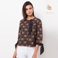 Asana Lamandau Ruffle Woman Top Batik Wanita - Black