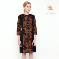 Asana Liris Bunga Woman Dress Batik Wanita - Black