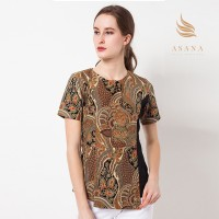 Asana Flower Waves Batik Blouse Batik Wanita - Brown