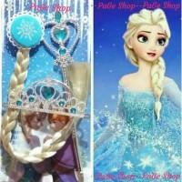 Asesoris Frozen Elsa / Tongkat, Mahkota, Rambut Kepang Elsa