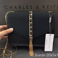 TAS WANITA CHARLES AND KEITH CLUTCH SUEDE BAG ORIGINAL 3