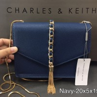 TAS WANITA CHARLES AND KEITH CLUTCH NAVY BAG ORIGINAL 3
