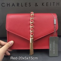 TAS WANITA CHARLES AND KEITH CLUTCH RED BAG ORIGINAL 3