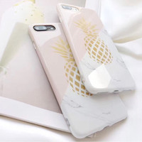 iPhone Case Casing Goldie Gold Pineapple Yellow White Marble 6/7