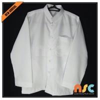 Jual Terbaru! Baju Koko Pria Muslim Dewasa Tangan Panjang - Putih Polos Murah