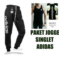 paket joggerpants adidas dan singlet gym fitness olahraga