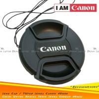 Lens Cap Tutup Penutup Lensa Kamera 49mm Logo Canon EF-M 15-45mm dll