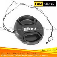 Lens Cap Tutup Penutup Lensa Kamera 55mm Logo Nikon Dengan Tali