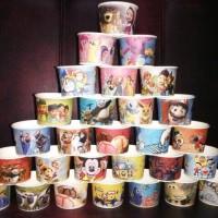 cup es / ice cream kertas gambar animasi / kartun + sendok kayu