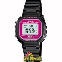 jam Tangan Wanita Casio LA 20WH 4ADF Woman Black Chronograph Alarm LCD