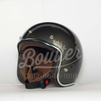 Boulter SS Gunmetal Gloss - Brown Padding - Helmet Only